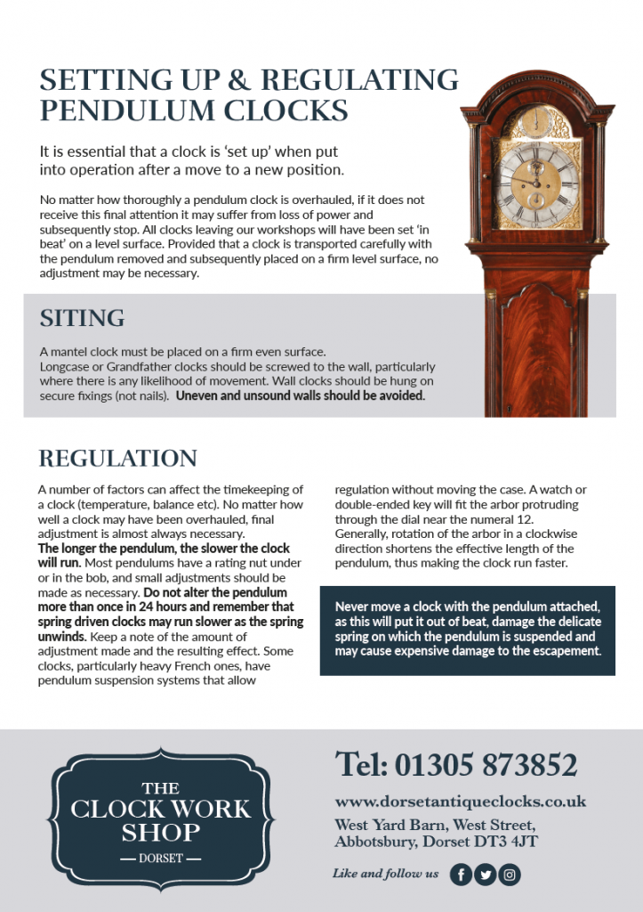 Guide for setting up pendulum clocks