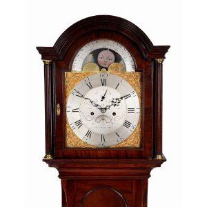 mahogany moonphase longcase clock by Benjamin Reed of Plymouth hood