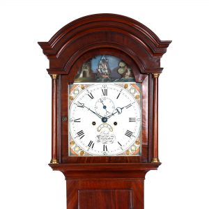 rocking ship automata longcase clock by Clarke of Dorchester hood