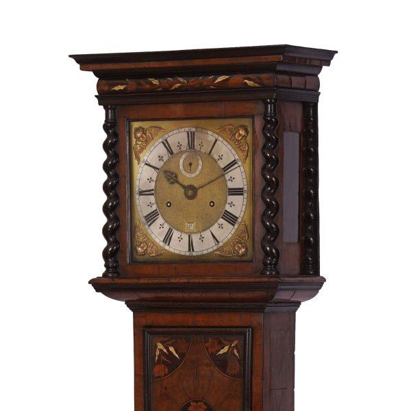 joseph-knibb-olivewood-longcase-clock-hood-side