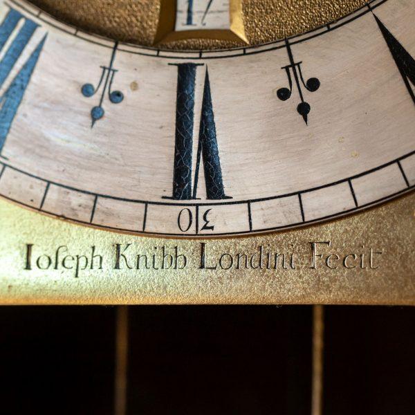 joseph-knibb-olivewood-longcase-clock-signature