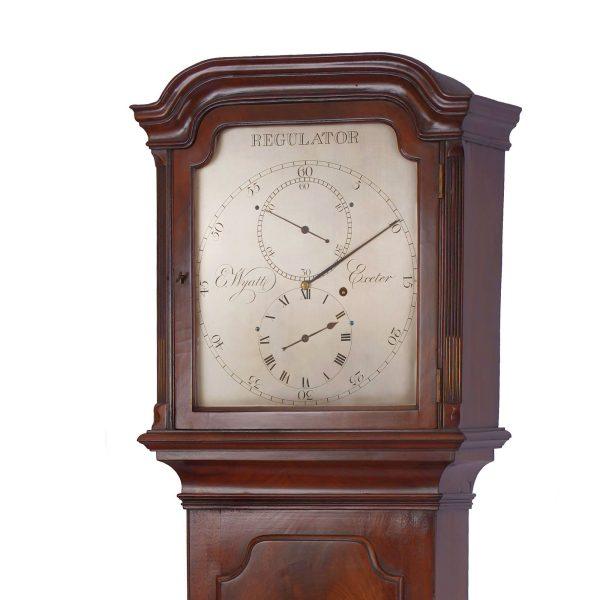 wyatt-exeter-rare-mahogany-regulator-longcase-clock-hood