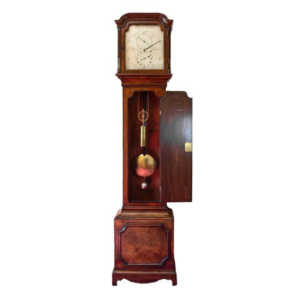 wyatt-exeter-rare-mahogany-regulator-longcase-clock-open