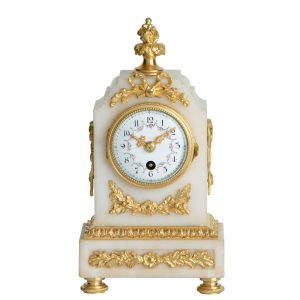 french-white-alabaster-antique-mantel-clock