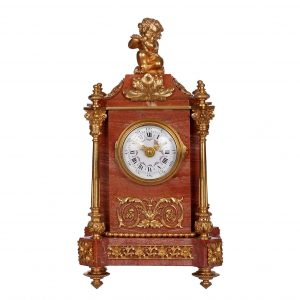 french-small-pink-marble-mantel-timepiece